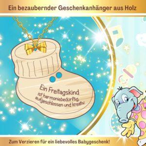 Bastelideen Geburt Baby - Geschenkanhänger Babyschuh Freitagskind