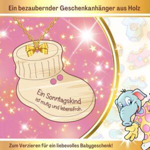 Geschenk zur Geburt Patenkind - Geschenkanhänger Babyschuh Sonntagskind