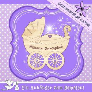 Glückwunsch fürs Baby - Geschenkanhänger Kinderwagen Sonntagskind
