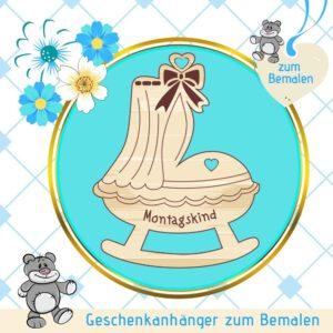 Sinnvolle Geschenke zur Geburt - Geschenkanhänger Himmelbett Montagskind