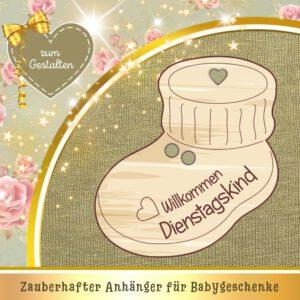 Nachhaltige Geschenke zur Geburt - Geschenkanhänger Babyschuh Dienstagskind