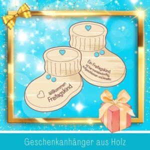 Personalisiertes Geschenk Baby - Geschenkanhänger Babyschuhe Freitagskind