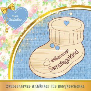 Pullerparty Geschenk - Geschenkanhänger Babyschuh Samstagskind