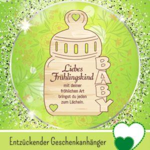 Windelgeschenke zur Geburt - Geschenkanhänger _Liebes Frühlingskind_